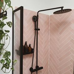 Black and pink will always be a dream combination. We love this organised and clean shower space. Matte Pink, Matte Black, Shower Cleaner, Wardrobe Rack, Sconces, Clean Shower, Wall Lights, Space, Design Ideas