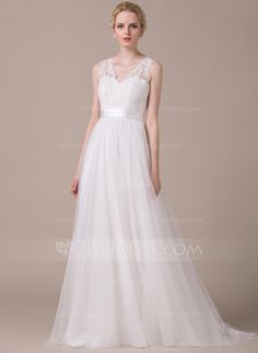 529fafea28df A-Line/Princess V-neck Sweep Train Tulle Charmeuse Wedding Dress With  Appliques Lace Bow(s) - JJsHouse