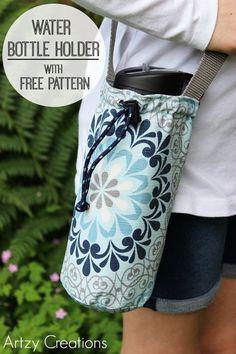 http://artzycreations.com/water-bottle-holder-with-free-pattern/ Water Bottle Holder with Free Pattern