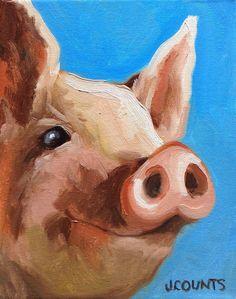 """PIG ART HOME FARM DECOR """"NOAH"""" OIL ON CANVAS 8""""X10"""""""