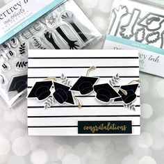 Hats off to our grads with this stunning but simple card design using Papertrey Ink and Ink To Paper stamp and die set. It features a slat background. Graduation Cards Handmade, Graduation Project, Graduation Ideas, Simple Card Designs, Black And White Theme, School Colors, Hero Arts, Ink Color, Colorful Backgrounds