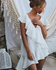 Summer Style Mini Dresses – Maizys Boutique Bikini Cover Up, Swimsuit Cover, Kaftan, Informal Wedding Dresses, Beach Tunic, Dress Beach, White Ruffle Dress, Cute Bathing Suits, Bathing Suit Cover Up