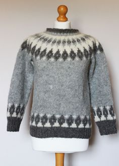 Vintage Icelandic Jumper, bought by my Mam in the in Lerwick, traditional natural colours, slightly felted over time. I reknit the neck as it came up to high. Sweater Scarf, Wrap Sweater, Hand Knitting, Knitting Patterns, Icelandic Sweaters, Nordic Sweater, Fair Isle Pattern, Nordic Style, Knitting Projects