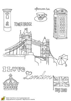 Coloriage Tower Bridge de Londres - Hugolescargot.com