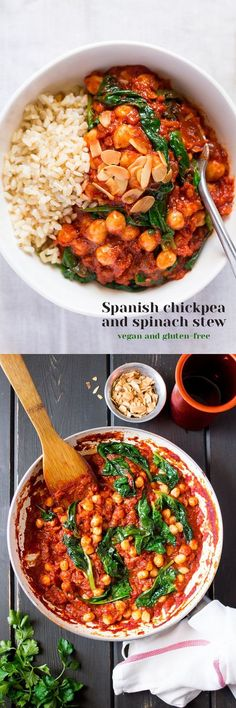 #Spanish #chickpeas and #spinach #stew (garbanzos con espinacas) is delicious, nutritious and so #easy to make. Tastes even better the day after it was made! It's naturally #vegan and #glutenfree #recipe #recipes #dinner #lunch
