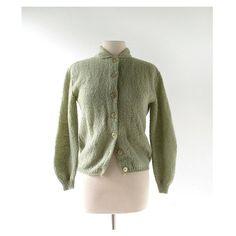 1960s Lichen Green mohair cardigan