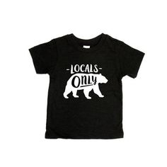 The Locals Only Bear Tee. White writing on Black tee. Tee made in USA, designed and printed in Canad Canada Logo, Banff Alberta, Alberta Canada, Best Vacation Spots, Handmade Clothes, The Locals, Fashion Forward, How Are You Feeling, T Shirts For Women