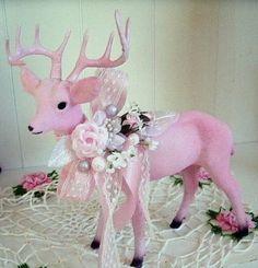 Pink Shabby Christmas Deer