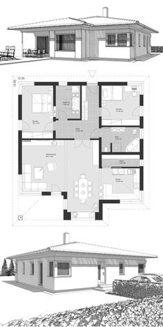 Winkelbungalow Neubau modern ground floor plan with hipped roof & bay window extension - single-family house build ideas architecture drawing ELK Bungalow Haus 125 . Modern Architecture House, Modern Buildings, Architecture Design, Modern House Design, Sims House Plans, Small House Plans, U Shaped Houses, Modern Floor Plans, Mexico House