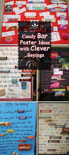Schokoriegel-Plakat-Ideen mit klugen Sprechen Chocolate Bar Poster Ideas with clever sayings Candy Bar Cards, Candy Bar Sayings, Candy Bar Gifts, Candy Quotes, Card Candy, Candy Favors, Boss Birthday Gift, Diy Birthday, Birthday Recipes