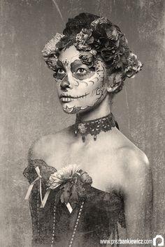 "#diadelosmuertos ""La Calavera Catrina""~Sharda Moira Johnn (Model) and Nina Griffee (Makeup Artist). Image © Prez Bankiewicz Photography, 2010."