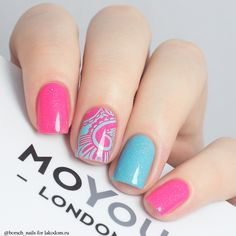 Summer nail designs can boost your mood instantly. Just check them out and you'll agree! Every time you'll look at this bright and interesting manicure, you'll definitely smil… Love Nails, Pretty Nails, Fun Nails, Shellac Manicure, Manicure And Pedicure, Diy Acrylic Nails, Stylish Nails, Nail Stamping, Spring Nails