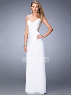 A-line Sweetheart Neckline Beaded Back and Straps Chiffon Prom Dress PD12237