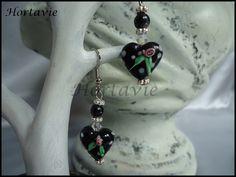 """Belles boucles d'oreille """"Black heart"""" : Boucles d'oreille par hortavie"""