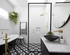 Shop @ronnieandgeorgia's enviable bathroom style at The Block Shop. Who else can't wait for Sunday night's guest bedroom reveals?! #9theblock #bathroom #bathroominspo #bathroomdesign http://ift.tt/2fwvf7l