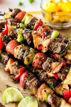 Brazilian Steak Kabobs with Potatoes, Onions and Peppers- Oh my goodness, these were just as good as any Brazilian Steakhouse! So crazy juicy, exploding with flavor and super easy! Beef Kabob Recipes, Grilled Steak Recipes, Grilling Recipes, Cooking Recipes, Healthy Recipes, Grilling Ideas, Delicious Recipes, Shish Kabobs, Steak Kabobs