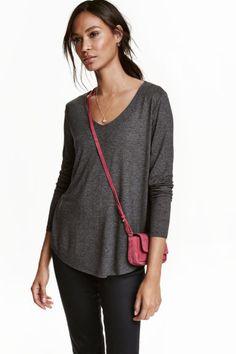 V-neck jersey top - Dark grey marl - Ladies | H&M GB 1