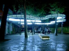 The Communication Hut, designed by architecture firm Herreros Arquitectos, is an illuminated public space in Gwanju, South Korea that provides users with both access to WiFi and a safe social environment at night. Landscape And Urbanism, Landscape Structure, Landscape Elements, Urban Landscape, Landscape Design, A As Architecture, Plaza Design, Urban Ideas, Public Space Design