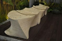The sculptural seating pieces are all handcrafted from laminated wood