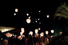 The beginning of our wish lanterns floating away.