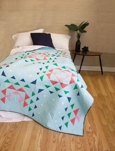 This quilt by designer, Janice Zeller Ryan,is a beginner level, block-based quilt that comes together quickly.