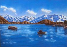 New Zealand artist Lake Wanaka, Pastel Artwork, Round Mirrors, New Zealand, My Arts, Mountains, Outdoor Decor, Artist, Travel
