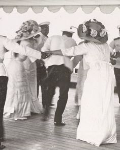 OTMA (Olga - Tatiana - Maria - Anastasia, the 4 princesses informal signature) dancing with officers onboard the Polar Star, 1913