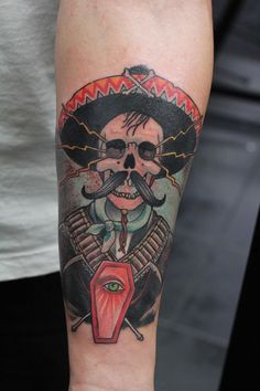 old school tattoo, color tattoo, mexican tattoo, mexixan skull, skull tattoo