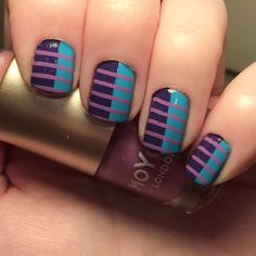 Stripe nail art using @barrymcosmetics 'guava' and #maxfactor 'lacquered violet'…