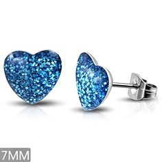 7mm  Stainless Steel Blue Drusy Crystal Love Heart Stud Earrings Pair  LEB558 -- Check this awesome product by going to the link at the image. Note:It is Affiliate Link to Amazon.