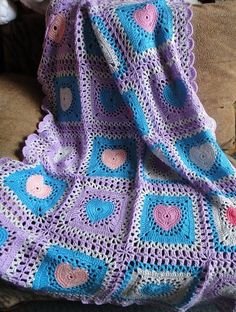 Hand-Knitted Square Crochet Heart Blanket Pattern - Crochet Craft, Lap Blanket