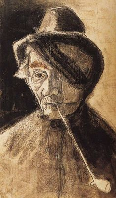 Vincent van Gogh - Man with Pipe and Eye Bandage. 1882