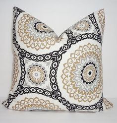 Black Silver Grey Tan Floral Geometric Medallion by HomeLiving