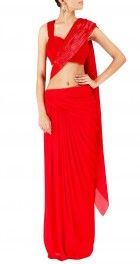 Red saree with beaded pallu and red blouse
