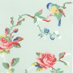 Birds & Roses Wallpaper Wallpaper by cath kidston Cath Kidston Wallpaper, Dining Room Wallpaper, Cottage Wallpaper, Bird Wallpaper, Fabric Wallpaper, Duck Egg Blue, Painted Paper, Illustrations, Designer Wallpaper