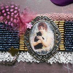 """Bracelet manchette vintage """" la demoiselle au chat noir"""", esprit baroque romantique"""