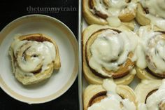 Easy cinnamon rolls with a little bit of cream cheese glaze to top them off. Click on the photo for the recipe!