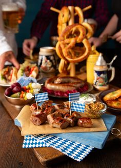 Turn your Oktoberfest party into a Bavarian beer hall with bratwursts aplenty. Guten Appetit! Oktoberfest Party, Bratwurst Sausage, Beer Tasting Parties, Party Food Platters, Beer Festival, Fall Recipes, Food And Drink, Brunch, October Fest Food