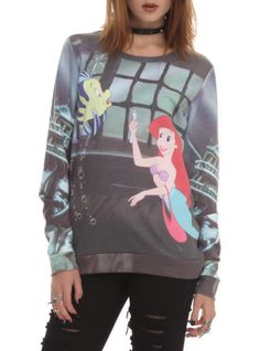 Disney Gifts for Teen Girls: The Little Mermaid Pullover Top @ Hot Topic Disney clothes Disney Sweatshirts, Disney Shirts, Disney Outfits, Disney Clothes, Disney Sweaters, Visual Kei, Hot Topic Sweaters, Creepy, Grunge
