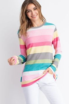 Polyester Rayon Spandex Made in the USA Lightweight banded top True to size. Color Stripes, Pink Stripes, Spring Tops, Vacation Outfits, Mom Style, French Terry, Online Boutiques, Street Style, Pullover