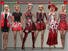 """Lana CC Finds - """"Philipp Plein Roses Collection"""" by All About Style The Sims, Sims Cc, Fashion Art, Girl Fashion, Fashion Outfits, Maxis, Sims 4 Clothing, Female Clothing, Sims 4 Controls"""