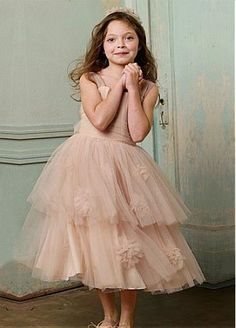 Fabulous Tulle Square Neckline Tea-length A-line Flower Girl Dress