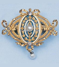 Gold, enamel, diamond and pearl brooch, by Lucien Gautrait, 1900–1925.