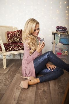 Blue sequin leggings- Modern Vintage Boutique. I think I neeeeeed them for the holidays!