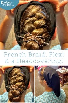 A beautiful French Braid hairstyle, secured with a comfortable Lilla Rose Flexi clip, then modestly covered with a head scarf! Roll Hairstyle, French Braid Hairstyles, Scarf Hairstyles, French Braids, Casual Hairstyles, Prom Hairstyles, Hairstyle Ideas, Messy Bun With Braid, Braided Buns