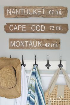 "PB Inspired Beach Signs Nantucket, Cape Cod & Montauk Made With Driftwood 2. Really like her method of transferring the letters to the wood. Great use for the pallet wood I have to make the porch sign, the ""places we've been"" sign for the back yard, and the welcome sign on our fence.  kh"