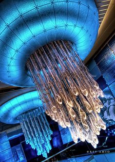 Fiber glass and fiber optic jellyfish-style chandeliers at the Dubai  Metro ceiling