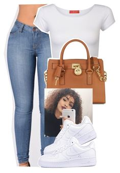 """this okayyy ."" by trapsoul ❤ liked on Polyvore featuring Influence, Michael Kors and NIKE"