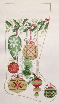 Alice Peterson # 2578 Natural Color Ornaments Stocking 13 mesh 10 x Handpainted Needlepoint Canvas Threads Sold Separately Embroidered Christmas Stockings, Cross Stitch Christmas Stockings, Cross Stitch Stocking, Needlepoint Stockings, Xmas Stockings, Cross Stitch Cards, Christmas Cross, Cross Stitching, Cross Stitch Embroidery