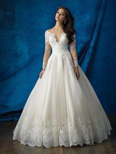 Vestido de Noiva de Allure (9366), coleção allure, corte princesa, decote ilusão, longo, com mangas